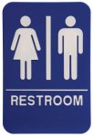 Unisex Restroom Sign with Braille Text, Blue ADA Signs