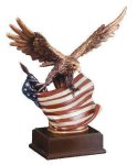 Eagle With Flag  Wing Span Art: Resin Series