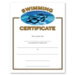 Athletic Award Certificate, Swimming Athletic Certificates, Vertical Color