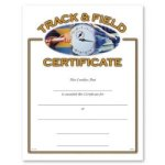 Athletic Award Certificate, Track and Field Athletic Certificates, Vertical Color
