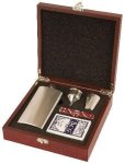 Rosewood Finish Flask Set Barware