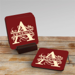 Drink Coasters, Set of 4 with Stand, Color Imprinted Drink Coasters Barware & Wine Gifts