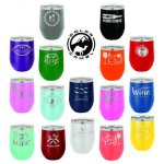 12 oz.Vacuum Insulated Stemless Wine Tumbler with Plastic Lid, 16 colors Barware & Wine Gifts