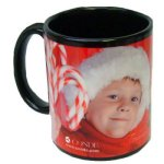 11 Oz Black Ceramic Mug, Wrap-Around Imprint Black Ceramic Mugs