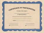 Certificate of Participation Blue Border Certificates