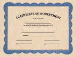 Certificate of Achievement Blue Border Certificates