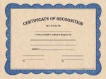 Certificate of Recognition Blue Border Certificates