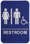 Unisex/Wheelchair Restroom Sign with Braille Text, Blue Braille Signs, ADA Compliant