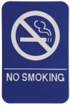 No Smoking Sign with Braille Text, Blue Braille Signs, ADA Compliant