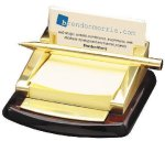 Business Card Holder with Post-It Notes and Pen Business Card Cases & Holders