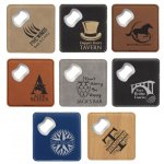 Leatherette Coasters with Embedded Bottle Opener, set of 4 Coasters