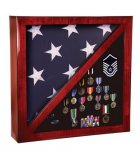 Flag and Memorabillia Case, Piano Finish Rosewood Display Cases