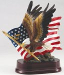 Eagle with American Flag On Base Eagle Gifts & Awards