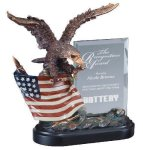 Eagle On Flag With Glass Eagle Gifts & Awards