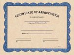 Certificate of Appreciation Fill In The Blank Certificates