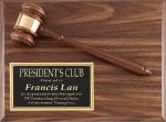 Walnut Plaque with 10 Gavel Gavel Plaques