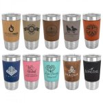20 oz.Vacuum Insulated Tumbler w/ Leatherette Grip & Plastic Lid, 10 Colors Golf Gifts & Accessories