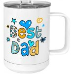 15 oz.Vacuum Insulated Mug with Slider Lid, White with Color Imprint Great Gifts for Dad