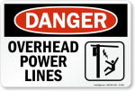 Overhead Power Lines Sign, multiple sizes, metal Jobsite Signs
