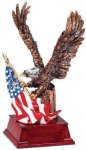Eagle and Flag Copper With Cherry Base Military & Patriotic Items