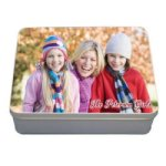 Metal Storage Tins with Color Imprint Mom, Dad & Grad