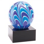 Two-Tone Blue and White Sphere New Art Glass