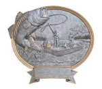 Bass Fishing Oval Legend Award Oval Resin Plaque Series