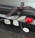 Silver-Plated Red Rose with Engraving Plate Special Occassions