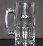 Clear Glass Stein with Engraving, Multiple Sizes Steins