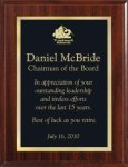 Economy Cherry Finish Plaque with Black/Gold Engraved Plate Traditional Series