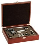 Rosewood Finish 5-Piece Wine Tool Set Wedding Gifts